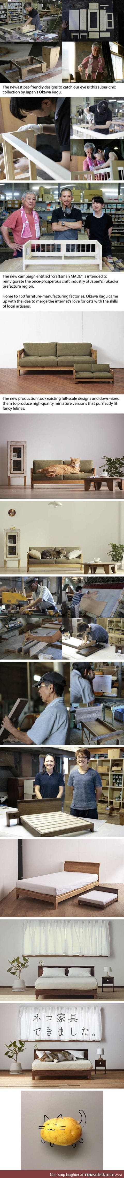 Japanese artist created miniature cat furniture to please your master