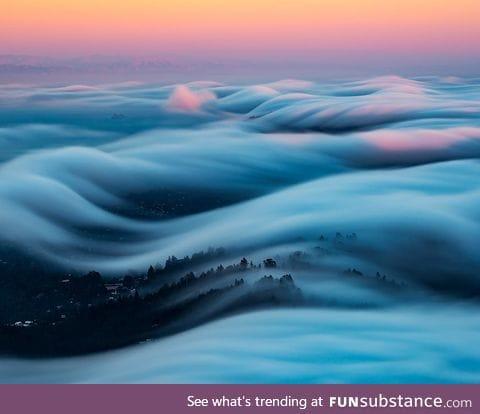 A rolling fog bank