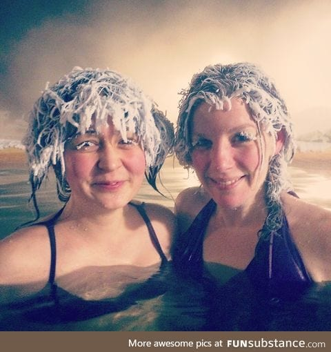 This is what happens when you go swimming in an outdoor pool at -40°C