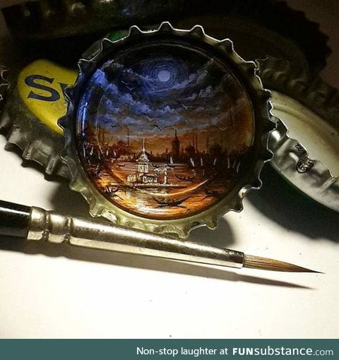 Painting in a bottle cap