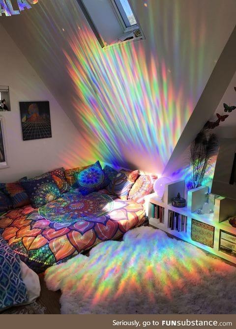 Sunlight through prismatic window film