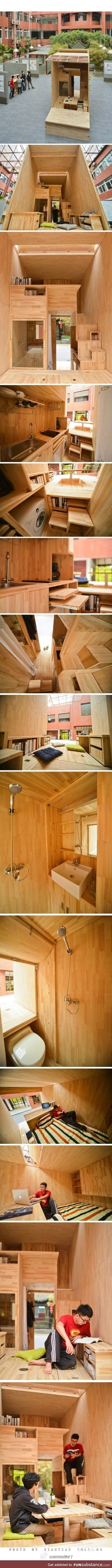 Student architect in China constructs his own 75 ft² wooden house