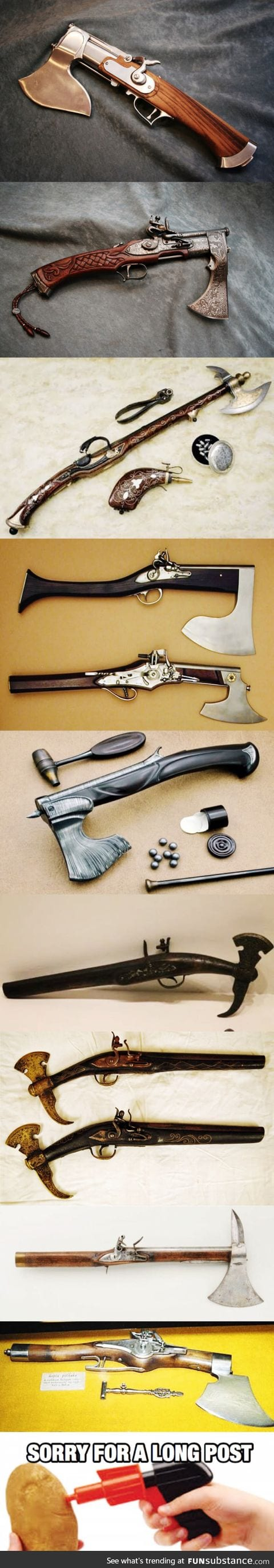 16-18th centuries Flintlock axe pistols (and a rifle) from various countries