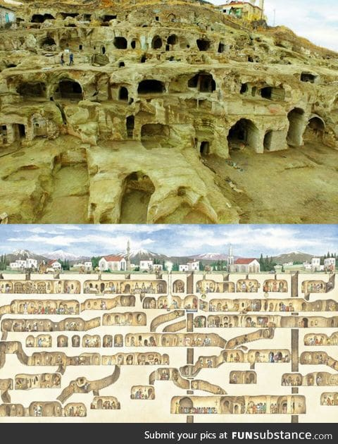 Derinkuyu is the largest excavated underground city, which could house over 20,000 people