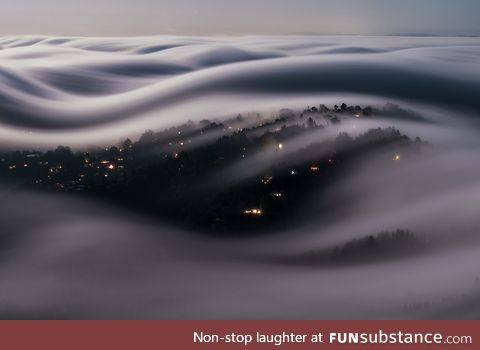 Long exposure of clouds over Marin County in California