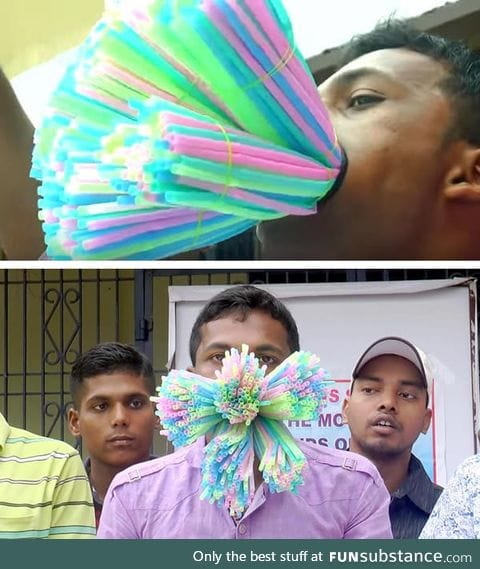Man Successfully Shoves 459 Straws Into His Mouth And It's A New Guinness World