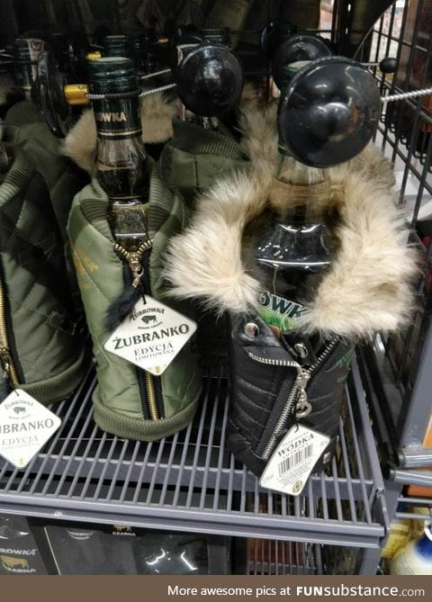 Welcome to Poland, it's so cold that even the vodka has a coat!