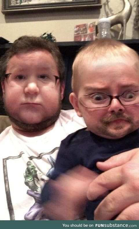 Father's amazing face swap with his baby