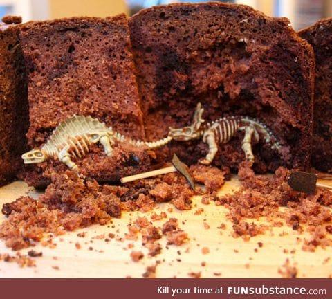 Awesome paleontology cake