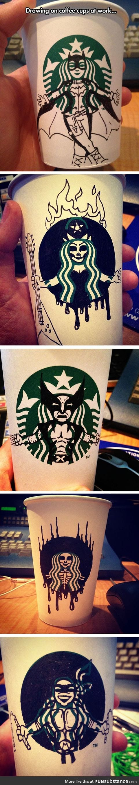 Starbucks should pay him for these awesome designs