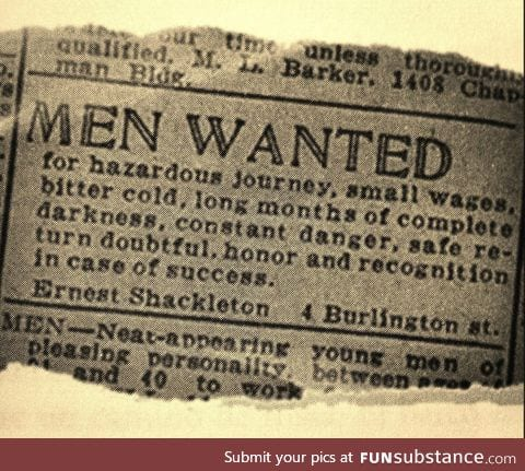 Men wanted (South Pole expedition, 1907)