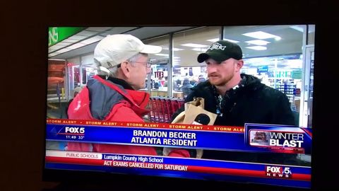 This guy knows what is important when it's snowing in Atlanta