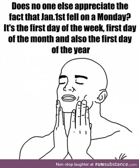 Isn't is amazing that the first day of the year is perfectly monday?