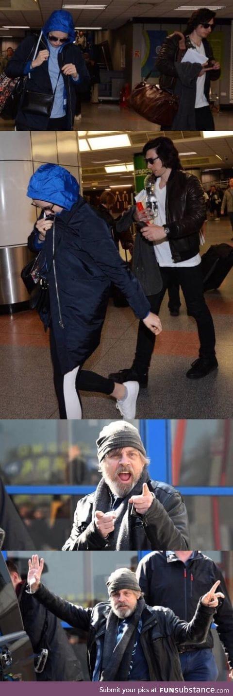 Star Wars actors arriving at the Belfast airport