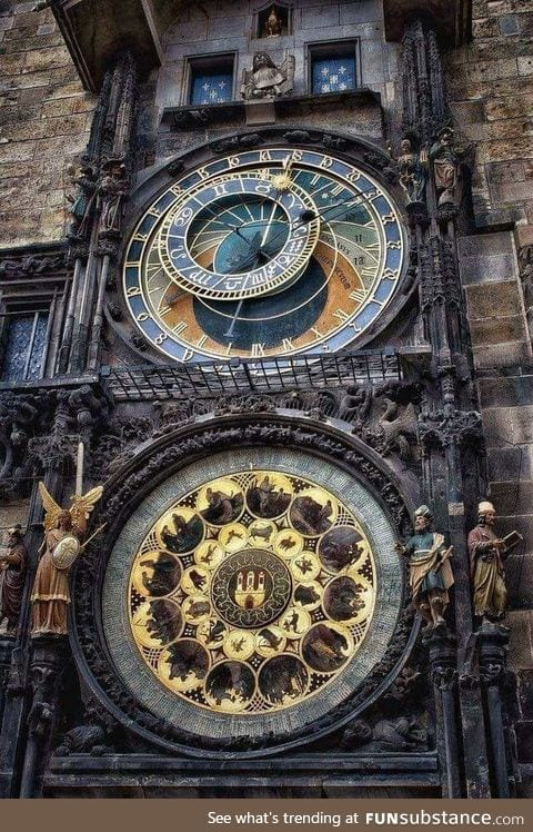 Installed in the year 1410, the giant outdoor clock in downtown Prague has been since