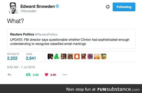 My favorite edward snowden tweet happened today
