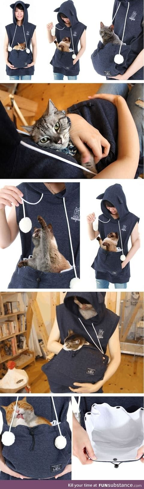 Cat hoodie with kangaroo pouch lets you take your cat wherever you go