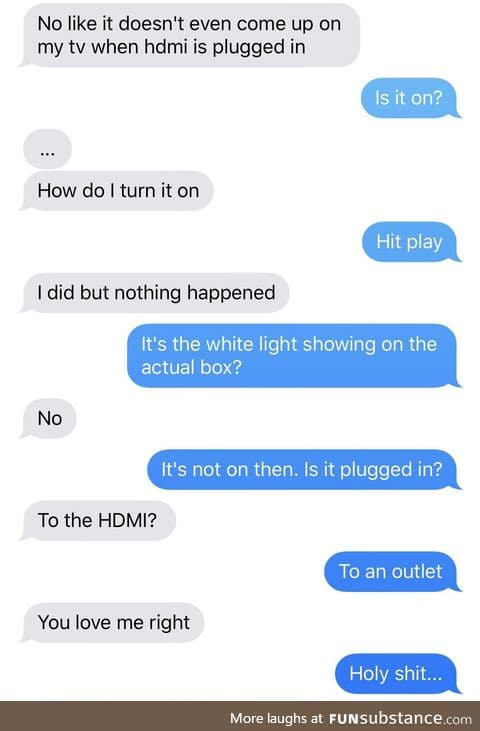 A guy's girlfriend was having trouble setting up her Apple TV