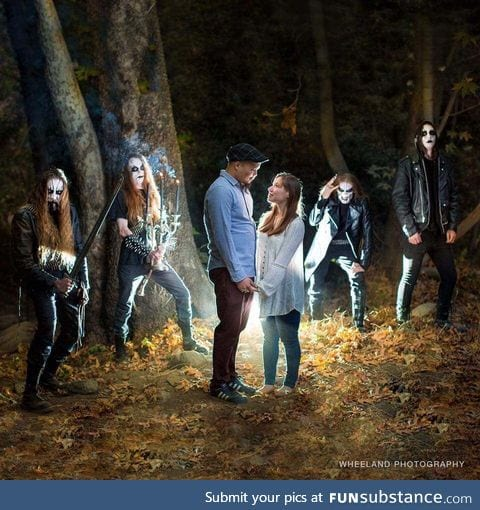 They encountered a black metal band during their engagement shoot