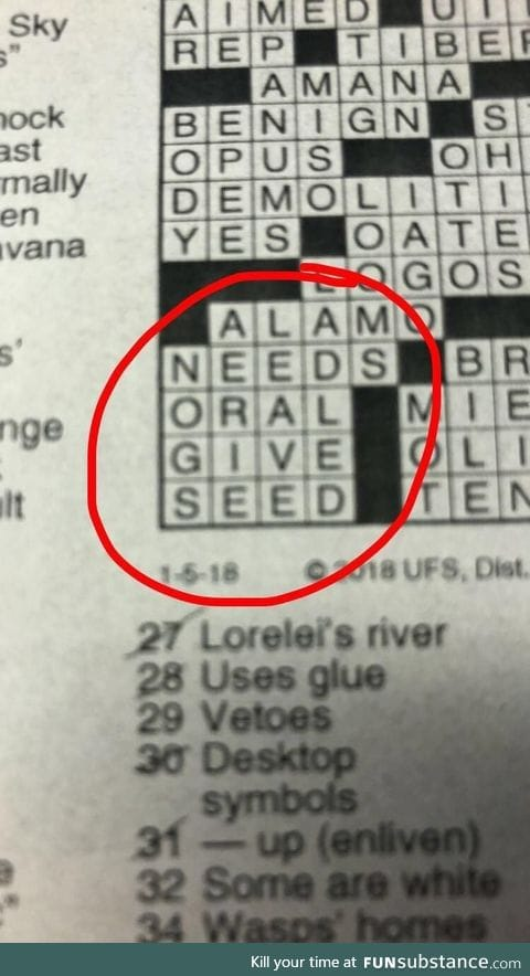The crossword maker had other things on their mind
