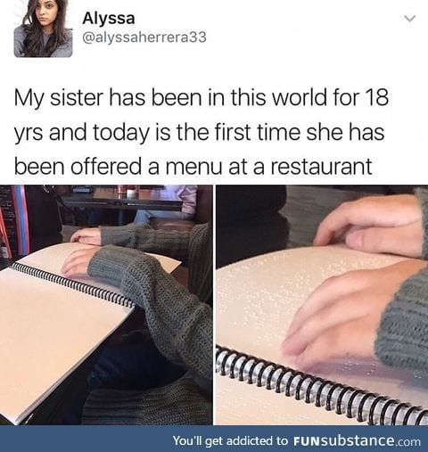 Restaurant menu for the blind