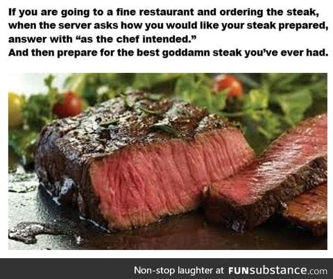 Dining tip for a great steak