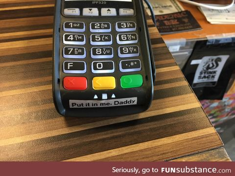 Credit card chip reader in a head shop