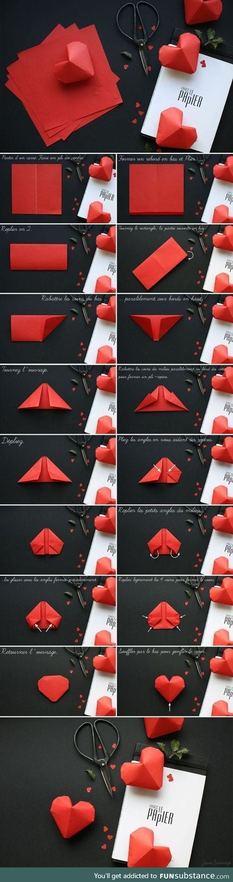 How to make a 3D heart origami