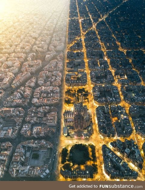 Day and night in Barcelona