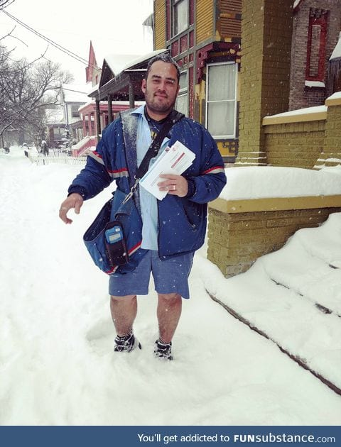 """Mail guy only puts on pants """"only if it gets into the negatives."""" It's 15 degrees"""