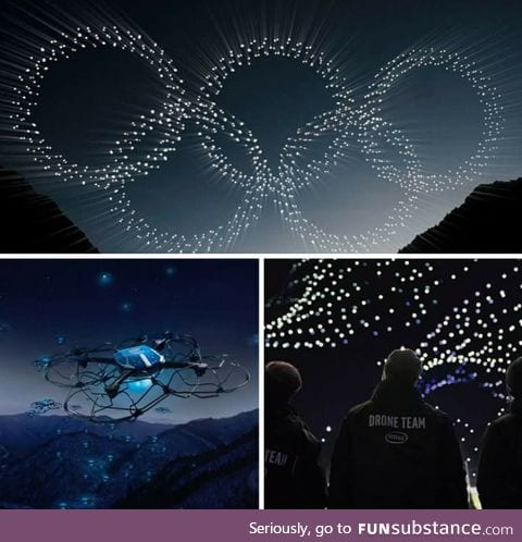 Intel's 1,218 drones form the Olympic rings during Opening Ceremony