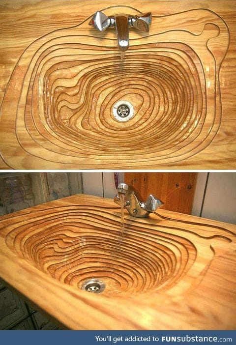 Topographical inspired wooden sink