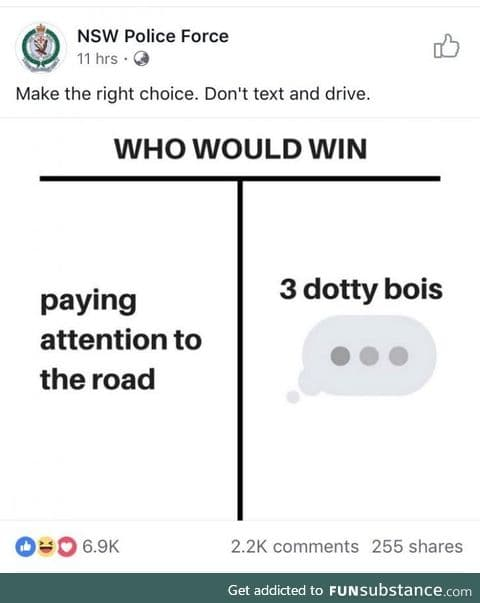 Make the right choice. Don't text and drive