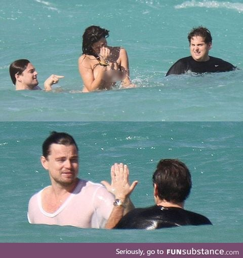 Leonardo DiCaprio and Jonah Hill swimming in the ocean
