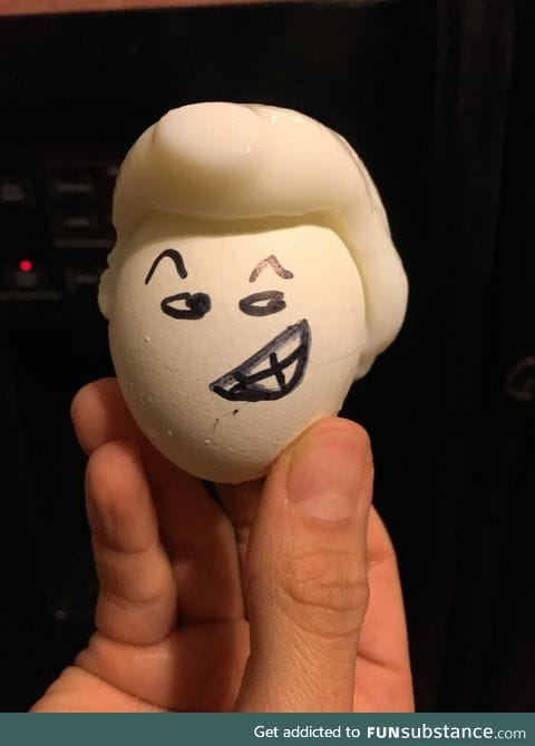 After boiling a cracked egg