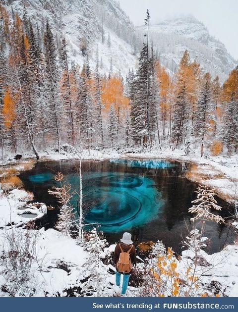 Geyser lake in Altai, Russia
