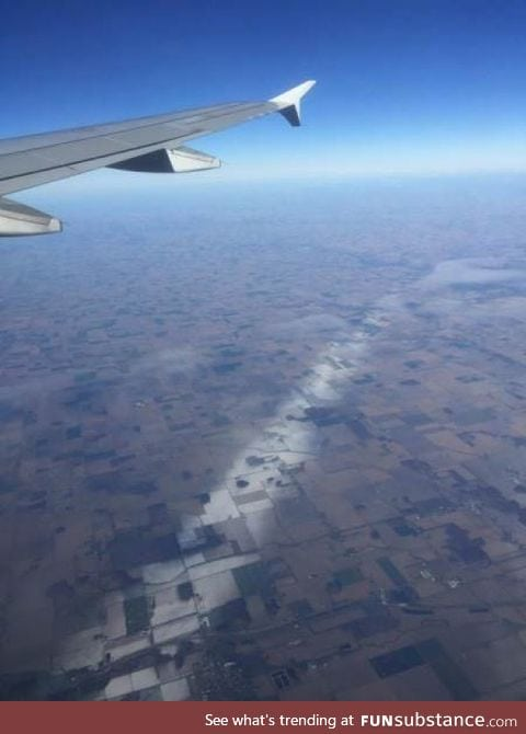 The snow fell in a very thin line in Ohio