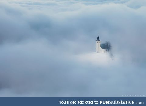 Church of St. Andrew (Slovenia) Through Sea of Fog