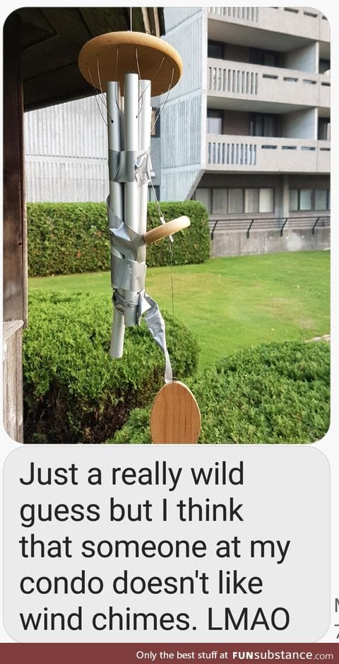 Somebody doesn't like my wind chimes