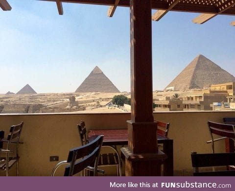 The view from a Pizza Hut balcony in Cairo, Egypt