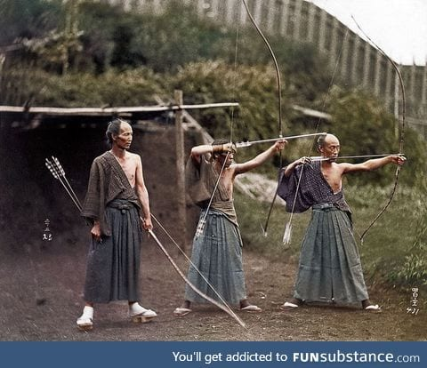 Japanese Archers,1860, color restored,