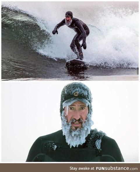 Winter surfing in -13 degrees in Sweden