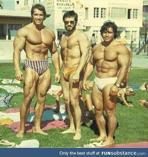 Arnold Schwarzenegger chilling with his friends