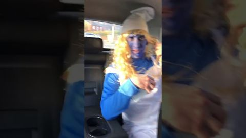 2 guys tell their friend they're going out dressed as Smurf, but don't dress up themselves