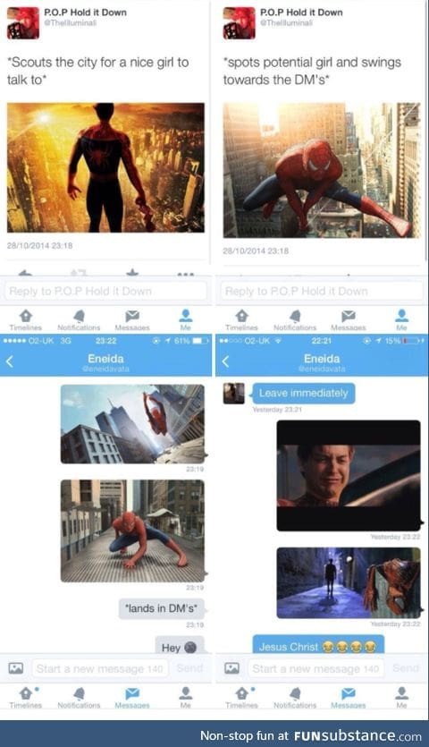 These girls need a resume now. Not even spidey can get a girl.
