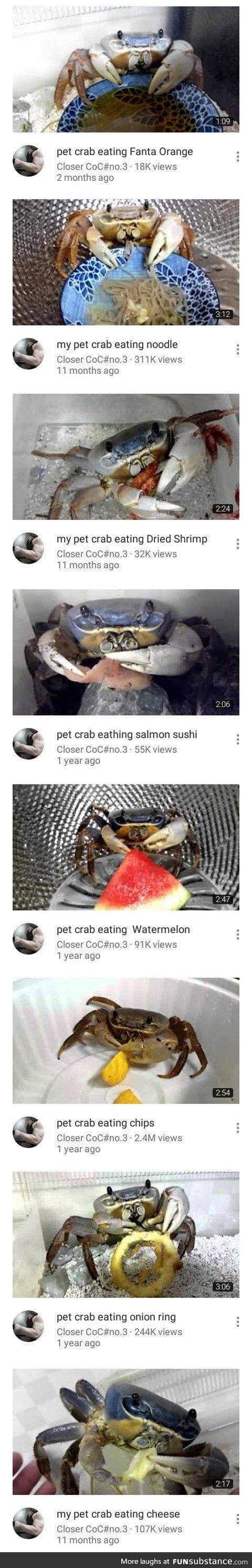 Crab eating stuff