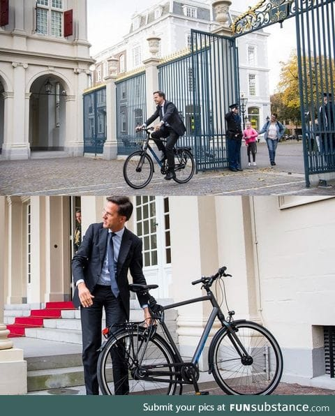 The prime minister of the Netherlands arriving on his job. #dutchthings
