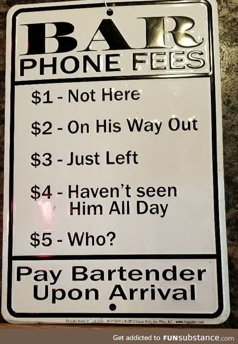 Bar phone fees