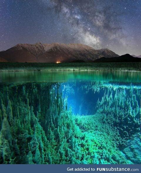 Half underwater, half above water