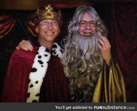 Bill Gates and Warren Buffett at a Camelot themed party